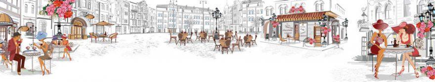 Изображение для стеклянного кухонного фартука, скинали: город, люди, улица, париж, fartux777