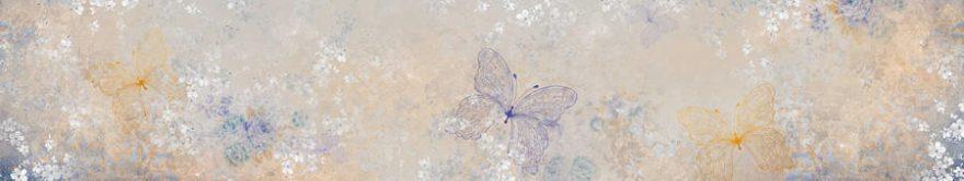 Изображение для стеклянного кухонного фартука, скинали: бабочки, орнамент, fartux806