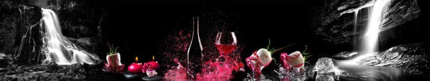 Изображение для стеклянного кухонного фартука, скинали: водопад, бутылка, бокал, fartux807