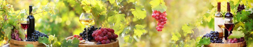 Изображение для стеклянного кухонного фартука, скинали: вино, виноград, бутылка, бокал, fartux808