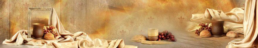 Изображение для стеклянного кухонного фартука, скинали: коллаж, виноград, еда, ткань, fartux813