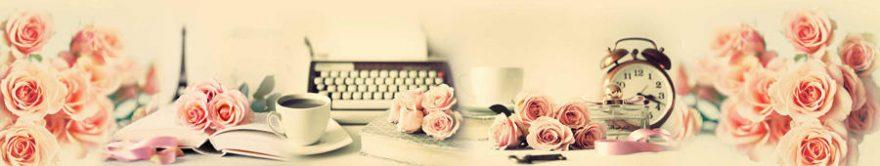 Изображение для стеклянного кухонного фартука, скинали: цветы, розы, коллаж, часы, винтаж, fartux824