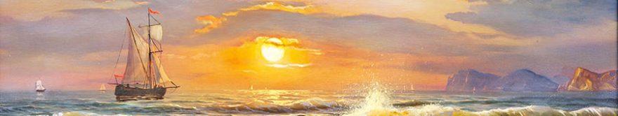 Изображение для стеклянного кухонного фартука, скинали: море, корабль, fartux825