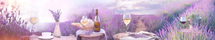 Изображение для стеклянного кухонного фартука, скинали: цветы, бутылка, бокал, лаванда, fartux828