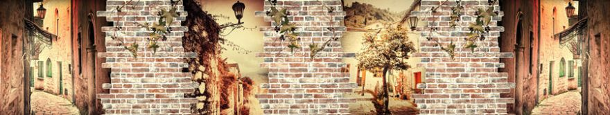 Изображение для стеклянного кухонного фартука, скинали: коллаж, город, кирпич, улица, fartux830