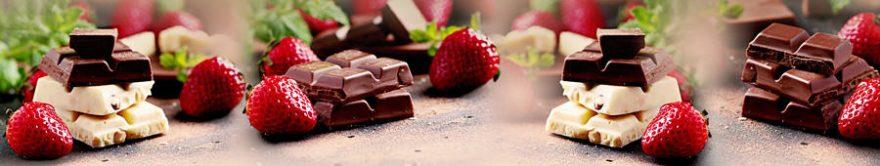 Изображение для стеклянного кухонного фартука, скинали: ягоды, клубника, шоколад, сладости, fartux833
