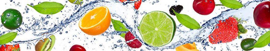 Изображение для стеклянного кухонного фартука, скинали: вода, фрукты, ягоды, fartux841