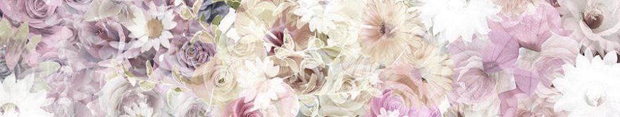 Изображение для стеклянного кухонного фартука, скинали: цветы, fartux854