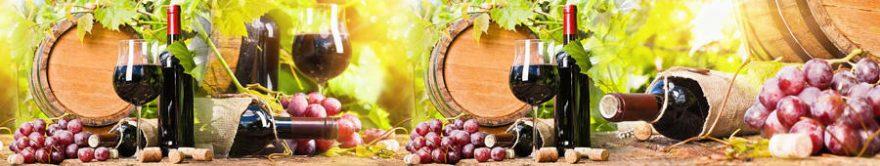 Изображение для стеклянного кухонного фартука, скинали: вино, бочка, виноград, бутылка, бокал, fartux856