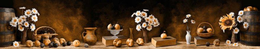 Изображение для стеклянного кухонного фартука, скинали: цветы, ваза, фрукты, ромашки, книга, fartux858