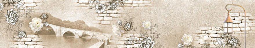 Изображение для стеклянного кухонного фартука, скинали: цветы, мост, кирпич, fartux877