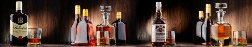Изображение для стеклянного кухонного фартука, скинали: напитки, стаканы, бутылка, fartux882