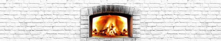 Изображение для стеклянного кухонного фартука, скинали: текстура, кирпич, огонь, fartux883