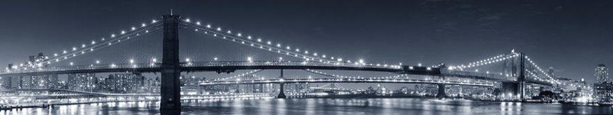 Изображение для стеклянного кухонного фартука, скинали: ночь, город, мост, fartux884