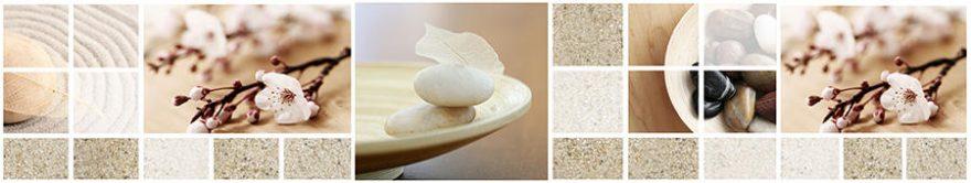 Изображение для стеклянного кухонного фартука, скинали: цветы, камни, коллаж, fartux886