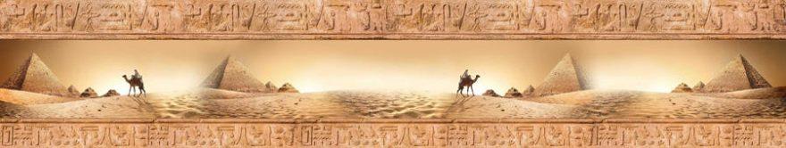 Изображение для стеклянного кухонного фартука, скинали: коллаж, пустыня, верблюды, иероглифы, fartux902