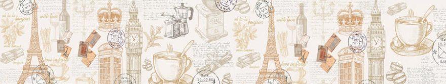 Изображение для стеклянного кухонного фартука, скинали: коллаж, кружка, башня, печать, fartux903
