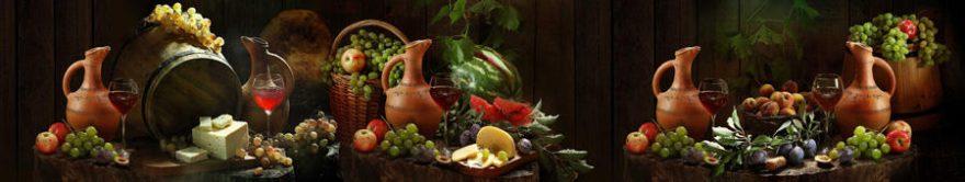 Изображение для стеклянного кухонного фартука, скинали: фрукты, вино, виноград, бокал, fartux908