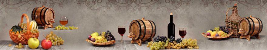Изображение для стеклянного кухонного фартука, скинали: фрукты, вино, бочка, виноград, бокал, fartux909