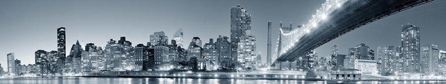 Изображение для стеклянного кухонного фартука, скинали: город, мост, небоскребы, fartux914