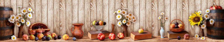 Изображение для стеклянного кухонного фартука, скинали: цветы, ваза, фрукты, ромашки, книга, fartux917