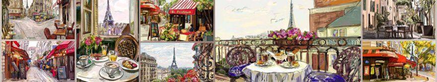 Изображение для стеклянного кухонного фартука, скинали: коллаж, париж, fartux929