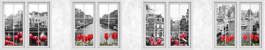 Изображение для стеклянного кухонного фартука, скинали: цветы, тюльпаны, окно, италия, fartux934