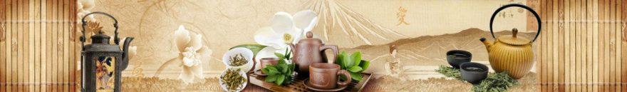 Изображение для стеклянного кухонного фартука, скинали: орхидеи, чай, кружка, чайники, fartux935