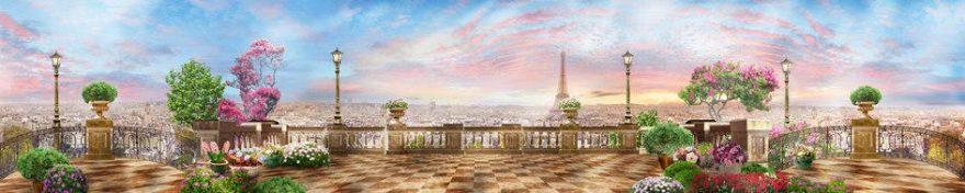 Изображение для стеклянного кухонного фартука, скинали: город, фонари, париж, fartux937