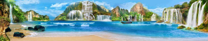 Изображение для стеклянного кухонного фартука, скинали: горы, водопад, fartux938