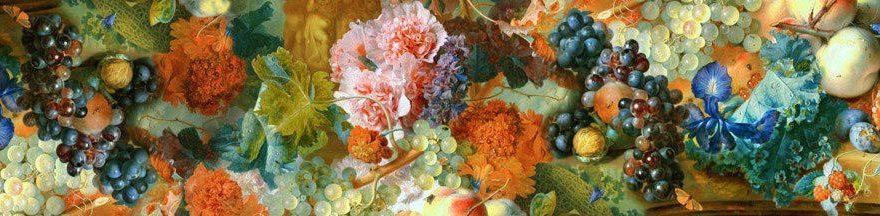 Изображение для стеклянного кухонного фартука, скинали: цветы, виноград, fartux942