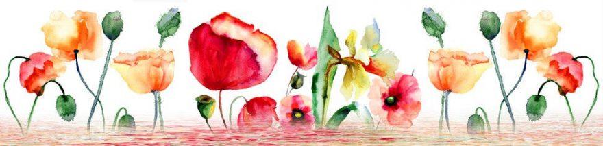 Изображение для стеклянного кухонного фартука, скинали: цветы, маки, fartux947