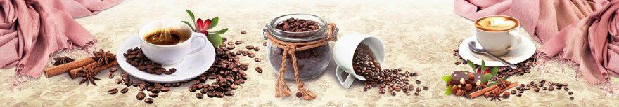 Изображение для стеклянного кухонного фартука, скинали: посуда, кофе, кружка, fartux952