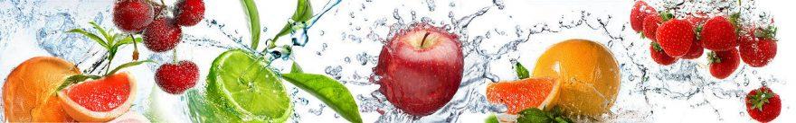 Изображение для стеклянного кухонного фартука, скинали: вода, фрукты, ягоды, fartux955
