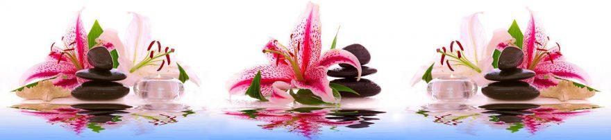 Изображение для стеклянного кухонного фартука, скинали: цветы, камни, свечи, лилии, fartux956