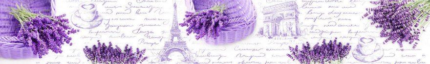 Изображение для стеклянного кухонного фартука, скинали: цветы, лаванда, письмо, париж, fartux957