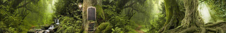 Изображение для стеклянного кухонного фартука, скинали: лес, джунгли, fartux958