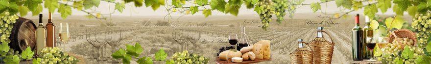 Изображение для стеклянного кухонного фартука, скинали: вино, виноград, бутылка, бокал, fartux961