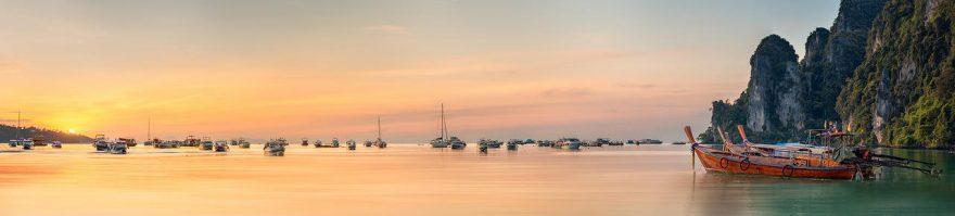 Изображение для стеклянного кухонного фартука, скинали: закат, море, лодки, fartux974