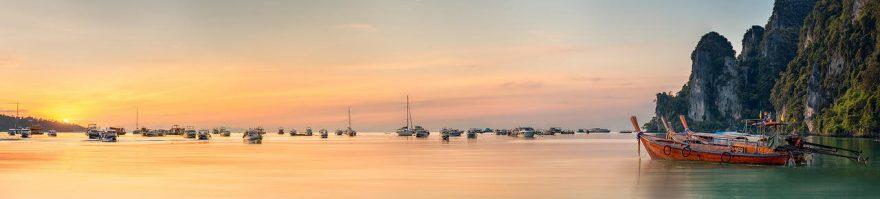 Изображение для стеклянного кухонного фартука, скинали: закат, море, лодки, fartux983