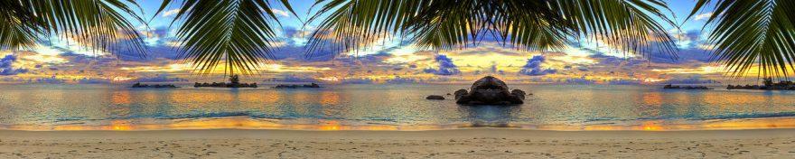 Изображение для стеклянного кухонного фартука, скинали: закат, море, пальмы, пляж, fartux989