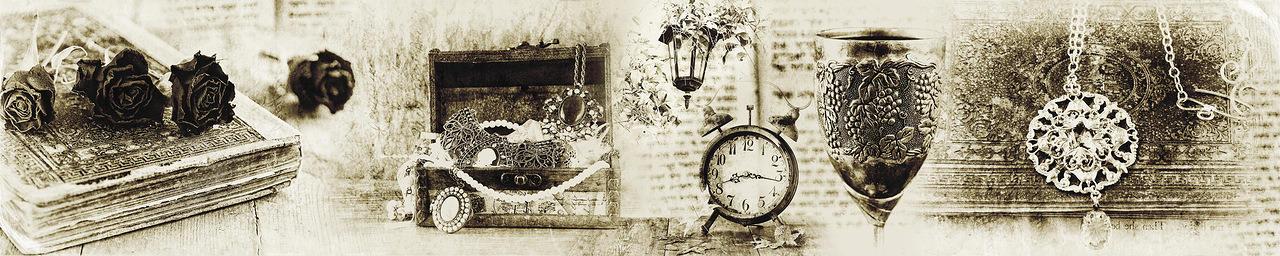 Изображение для стеклянного кухонного фартука, скинали: коллаж, книга, часы, винтаж, fartux998