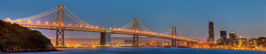 Изображение для стеклянного кухонного фартука, скинали: ночь, город, мост, небоскребы, gornoch006
