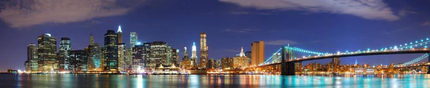 Изображение для стеклянного кухонного фартука, скинали: ночь, город, мост, небоскребы, gornoch008