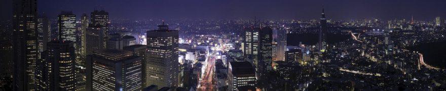 Изображение для стеклянного кухонного фартука, скинали: ночь, город, небоскребы, gornoch010