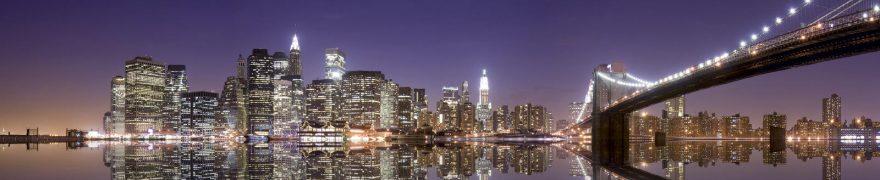 Изображение для стеклянного кухонного фартука, скинали: ночь, город, мост, небоскребы, gornoch013