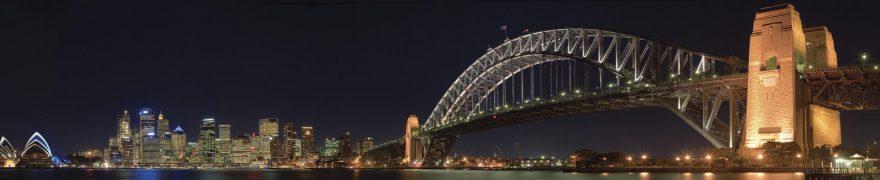 Изображение для стеклянного кухонного фартука, скинали: ночь, город, мост, архитектура, небоскребы, gornoch027