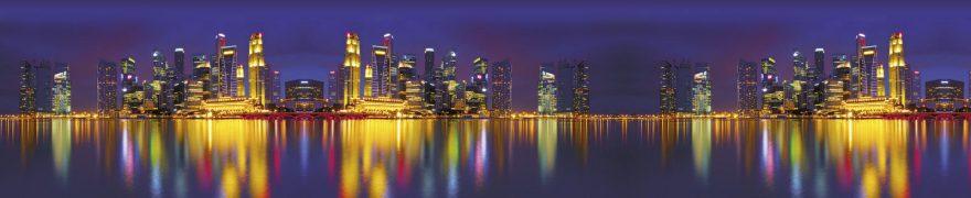 Изображение для стеклянного кухонного фартука, скинали: море, ночь, город, архитектура, небоскребы, gornoch029