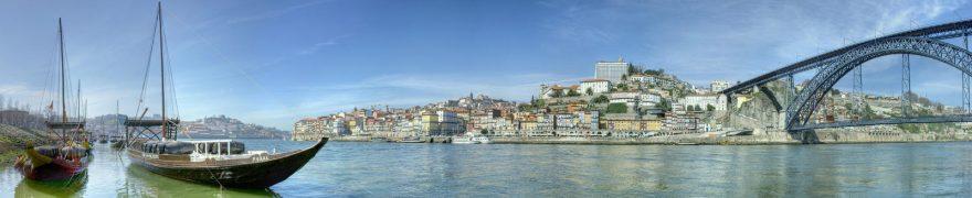 Изображение для стеклянного кухонного фартука, скинали: море, город, мост, лодки, gorstar001