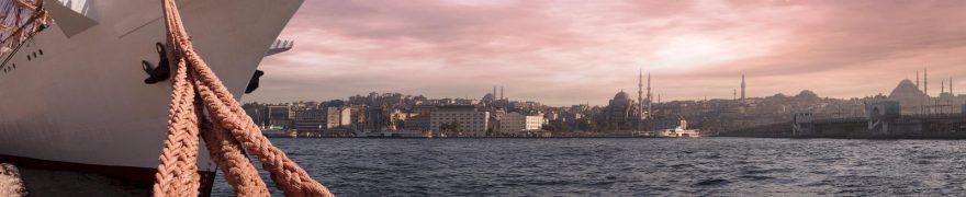 Изображение для стеклянного кухонного фартука, скинали: море, город, корабль, gorstar002